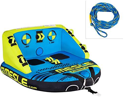 MESLE Tube Package Formula 2, mit 60' Schleppleine, Set, Towable-Couch, Fun-Tube, blau-Gruen, Multirider für Zwei Personen, aufblasbar, ziehbar, 180cm x 165cm, Familie, Kinder, Aufstiegshilfe, Boot