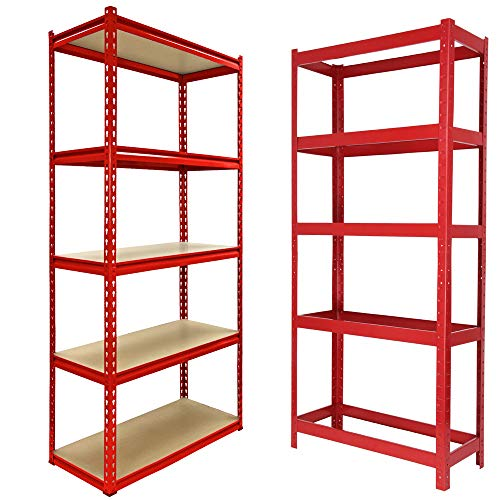 Heavy Duty Garage Shelving Unit: 150cm x 70cm x 30cm, 5 Tier Boltless Racking Shelves for Storage, 175kg Load Weight Per Tier, For Workshop, Office, Shed, Bathroom, Supermarket, Red