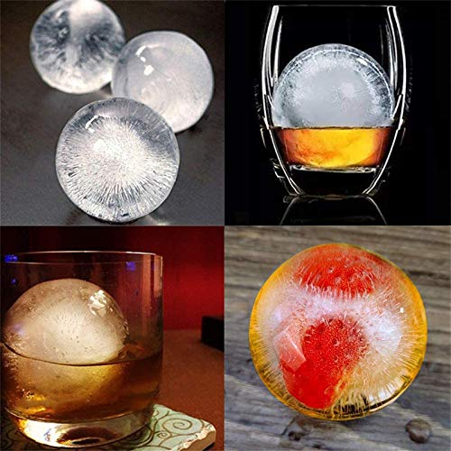 4Pcs Round Ice Cube Mold, 2.5in Reusable Silicone Big Sphere Ice Ball Makers for Cocktails…