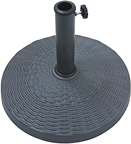 Ram® 10kg Weight Black Weave Parasol Base With Rattan Effect Weave Style Base Umbrella Stand 52cm Diameter