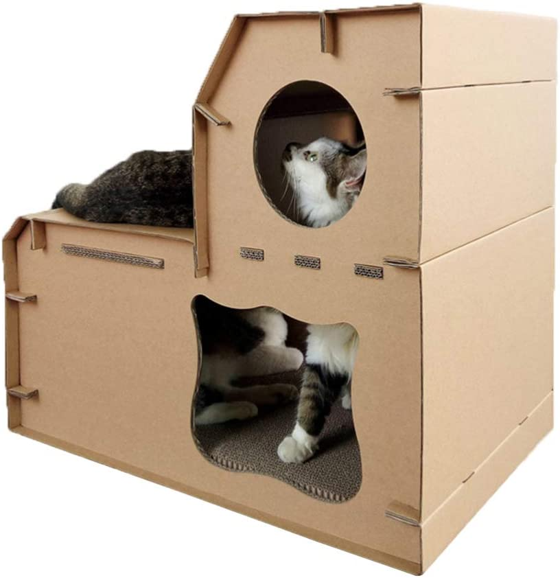 Be super welcome Balacoo Double Layer Cat House Game Play Cardboard Selling Pet