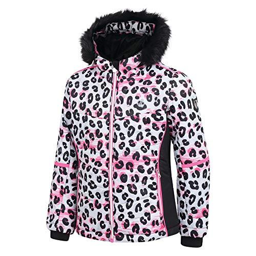 Dare2B Mädchen Skijacke Elusive wasserdicht und atmungsaktiv High Loft isoliert Ski und Snowboard Jacke mit Kunstfell Kapuze und Schneefang XXXX-Large Weiß / Leopardenmuster