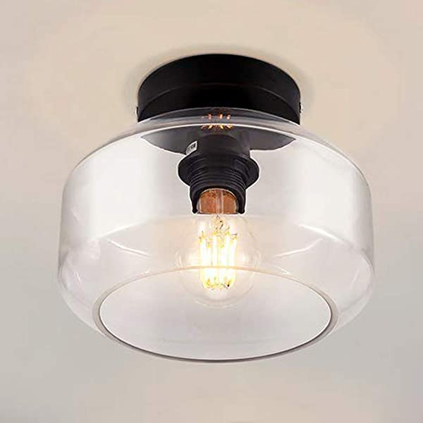 Ceiling Lamp Industrial Ceiling Light Semi Flush Mounted Pendant Lighting With Clear Glass Shade For Kitchen Dining Room Living Room Bedroom Cafe Bar