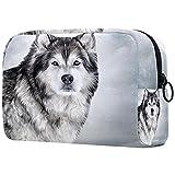 Bolsa Maquillaje Almacenamiento organización Artículos tocador cosméticos Estuche portátil Lobo Animal Gris Invierno para Viajes Aire Libre