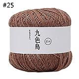 Ovillo de lana de algodón de seda para ganchillo, de 50 g, para tejer a mano, Algodón de seda., 25, As Picture Show