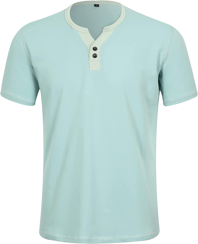 APTRO New life Men's Max 89% OFF Fashion Short Sleeve Casual Henley Lightwei Contrast