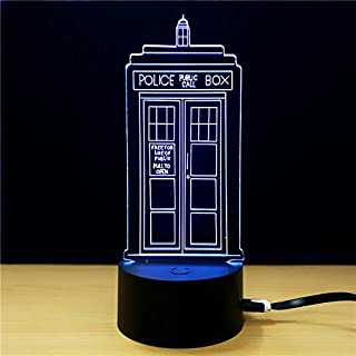 Optical Illusion Table Desk Lamp with 7 Color Light, 3D Light for Desk, Bookshelf or Bedside Table Public Call (Police Box)