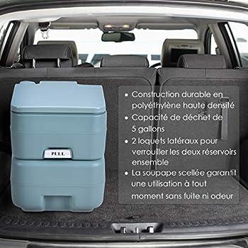 COSTWAY Toilette Portable WC Chimique Portable pour Camping Caravanes Hôpital, Toilette Chimique 20L HDPE Gris-Vert