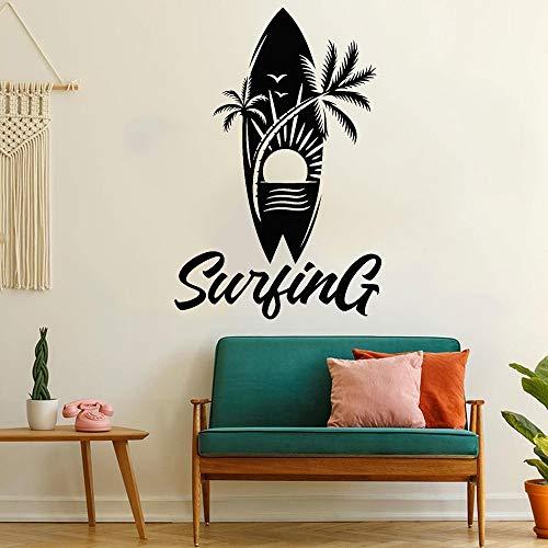 Surf Logo Sign Palmera Playa Sol Tabla de surf Mar Ola Exterme Deportes acuáticos Etiqueta de la pared Vinilo Calcomanía para automóvil Dormitorio de niño Sala de estar Club Tienda Decoración par