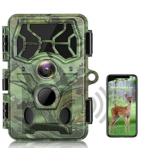 30MP WiFi Wildlife Camera 4K Native Bluetooth Wildlife Camera with Night Vision 3 PIR Sensor 120°Wide Angel Motion Detected IP66 Waterproof for Wildlife Monitor