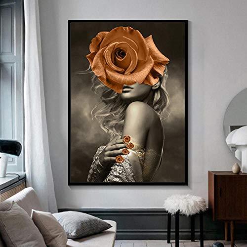 Woondecoratie Print Canvas Schilderij Muurkunst Oranje Bloem Vrouw Hoofd Nordic Moderne Stijl Poster Modern Nachtkastje Achtergrond-Frameloos 30x45cm