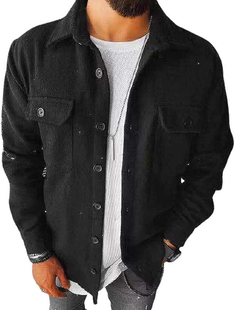 HONIEE Men's Vintage Corduroy Shirt Casual Button Up Long Sleeve Jacket Coat