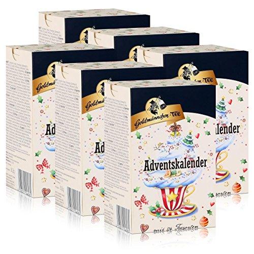 Goldmännchen-Tee Adventskalender mit 24 Teesorten 50g (6er Pack)