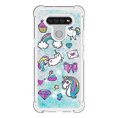 HopMore Glitter Funda para LG K51S Purpurina Silicona Cover 3D Liquido Brillante Dibujos Transparente Carcasa LG K51S Resistente Antigolpes Case Protección - Unicornio A