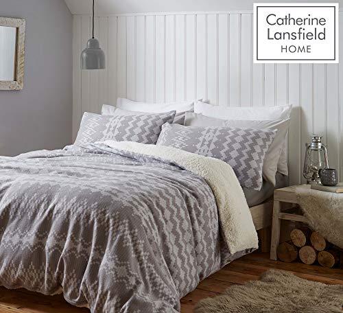 Catherine Lansfield Alpine Fleece Super King Duvet Set Grey