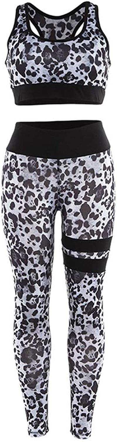 face69fa0a81 Leopard Print Sports Bra Pants Suit, Workout Clothes Sports Training Tight  Yoga Clothes (color