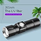 UV Taschenlampe, SONNTAG Lila Taschenlampe Drei Modi Aluminiumlegierung, USB Wiederaufladbare Taschenlampe Lila Handliches Licht für Haustier, Reisepass, Schmuck- (Teleskopzoom)