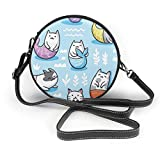Seaml Pattern con gatos sirena en estilo kawaii mujer mano redonda Crossbody Sra. hombro Menger bolsa personalizada