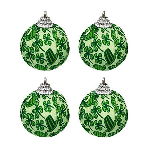 Moent Bola de tela para da de San Patricio, Festival de Irlanda, trbol de cuatro hojas de trbol de trbol para decoracin de fiestas de Ao Nuevo (verde, 12 unidades)