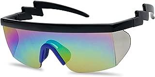 Large Wrap Around Rainbow Mirrored Semi Rimless Flat Top Shield Goggles Sunglasses (Black Blue Frame | Rainbow Mirror)