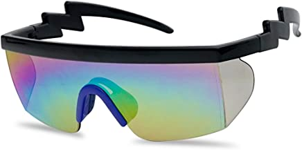 2a2af083afb SunglassUP 80 s Neon Semi Rimless Style Retro Rainbow Mirrored Transparent  Lens ZigZag Sunglasses