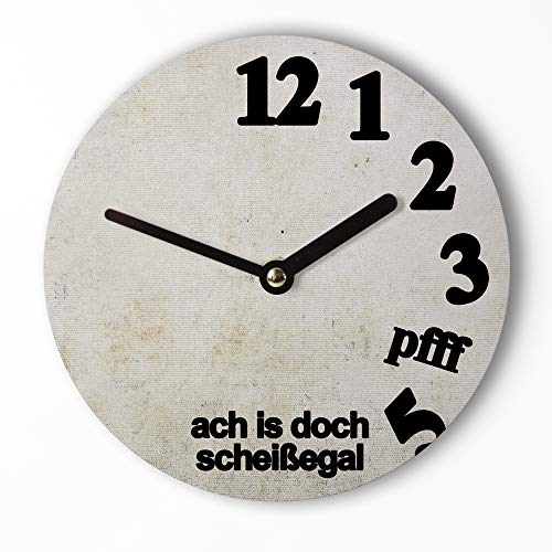Design Mini-Wanduhr 15cm   Pfff Egal - Lustige Uhr mit ausgefallenem Ziffernblatt Motiv – Leises Uhrwerk – Handmade