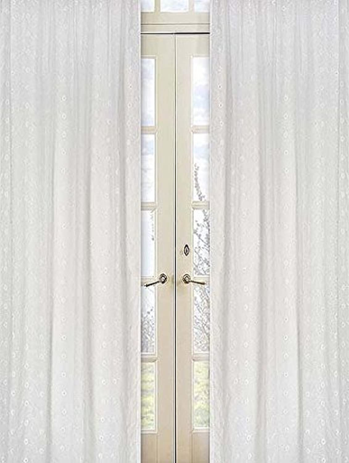 Sweet Jojo Designs 2-Piece White Eyelet Window Treatment Panels
