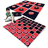 "SWOOC Games - 2-in-1 Vintage Giant Checkers & Tic Tac Toe Game with Mat ( 4ft x 4ft ) - 100% Machine-Washable Canvas with 5"" Big Foam Discs - Yard Size Indoor and Outdoor Games for The Whole Family"