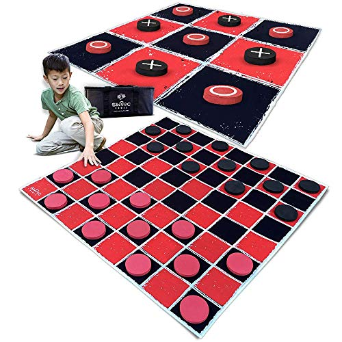 SWOOC Games - 2-in-1 Vintage Giant Checkers & Tic Tac Toe Game with Mat ( 4ft x 4ft ) - 100% Machine-Washable Canvas with 5' Big Foam Discs - Yard Size Indoor and Outdoor Games for The Whole Family