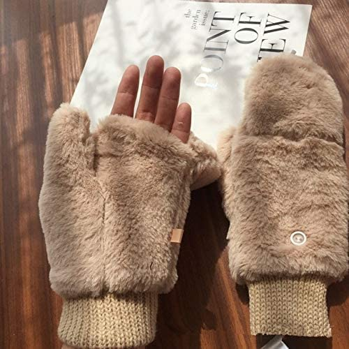 Faux Fur Thick Wrist Mitten Women Gloves Fingerless Warmer Winter Knitted Gloves New Wrist Trim Gloves - (Color: Beige, Gloves Size: One Size)