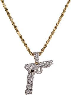 Gioielli Moca Ghiacciata Creativa Pendente a pistola Pendente in oro placcato in oro 18 carati con diamante simulato CZ pe...