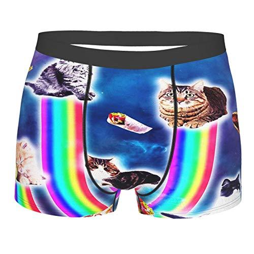 El espacio exterior de la galaxia gatos divertido gato con arco iris ropa interior para hombres divertidos calzoncillos bóxer novedad