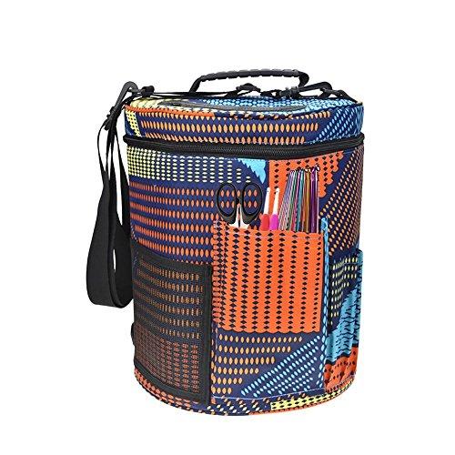 lingzhuo-shop Garnaufbewahrung Aufbewahrungstasche für Wolle Canvas Stricktasche Zur Aufbewahrung Von Wolle Handarbeitstasche Stricken Großer Zylinder Wollgarn 27,5x32,5 cm