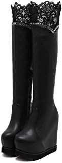 Zore Gy Umbrellas Sexy Lace Knee High Boots Sexy Platform Shoes Women Height Increasing Autumn Winter Boots Female Crystal with Side Zipper HYBKY
