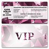 (10 x) Einladungskarten Geburtstag VIP Party Edel Pink Lila Ticket Einladungen