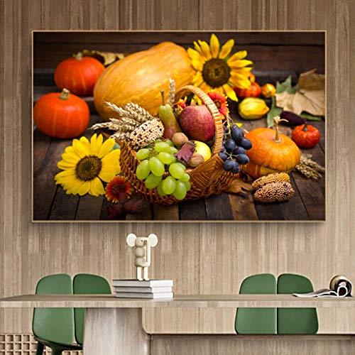 Cuadro sobre lienzo para pared, diseño de frutas vegetales en cesta, decoración de cocina, impresión de comida verde, para comedor, 60 x 90 cm, sin marco