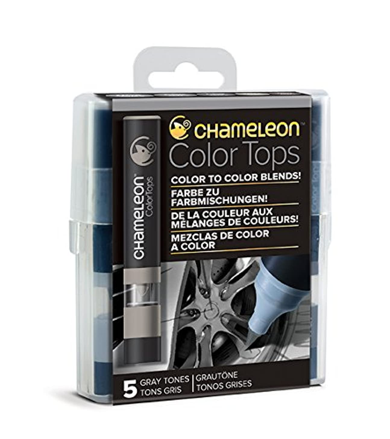 Chameleon Art Products Color Tops, Gray Tones 5-Pen Set