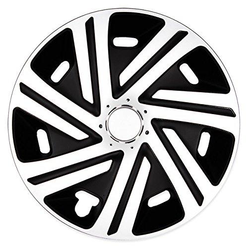 Eight Tec Handelsagentur (Größe wählbar) 14 Zoll Radkappen/Radzierblenden CYRKON Schwarz/Weiss passend für Fast alle Fahrzeugtypen – universal