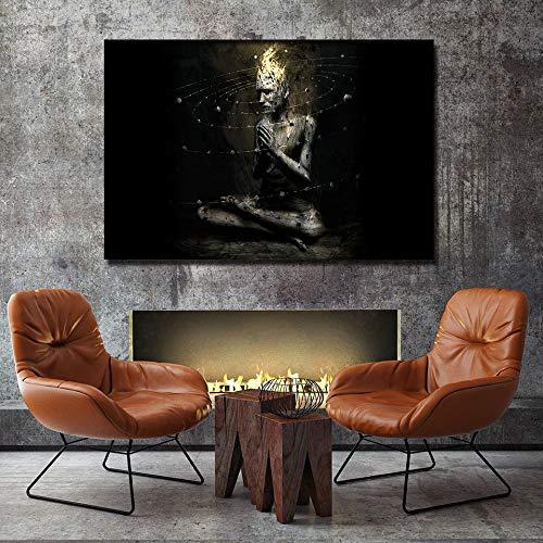 MJKLU Resumen Planeta como Retrato de Monje Dorado religioso Zen Buda Cartel HD impresión Pintura Lienzo Arte de la Pared Imagen decoración del hogar Sala de Estar 50 * 75 cm