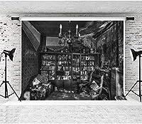 HiYash 8x6ft レトロ壊れた家背景本棚インテリア乱雑な写真背景誕生日パーティーの装飾バナー良い思い出の家の装飾ビニール素材スタジオ小道具