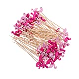 DOITOOL flatware-dessert-forks 2 Pack Cocktail Picks Disposable Fruit Sticks Creative Bamboo Toothpicks for Party Supplies (Flamingo, About 100pcs/pack)