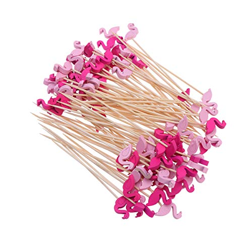 UPKOCH 200pcs Flamingo Bambus Cocktailspieße Cocktail Picks Obst Sticks für Geburtstagsparty Party Supplies Eisbecher Cocktails Partydeko BBQ