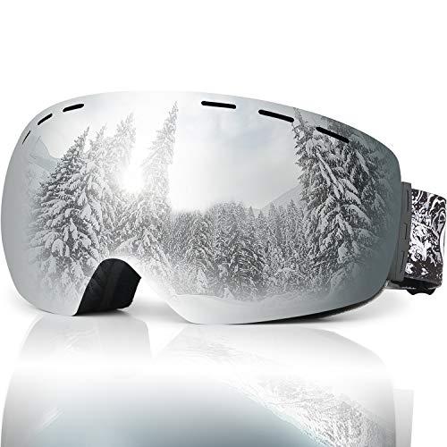 JTENG Skibrille,Snowboard-Schutzbrillen OTG UV-Schutz Austauschbare sphärische rahmenlose Linse ,Schutzbrille,Schutz Ski Goggles,Kompatibler Helm Anti Fog Warm und belüftet Für Damen Herren.