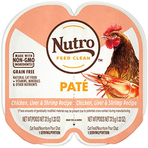 NUTRO Grain Free Natural Soft Wet Cat Food Paté Chicken, Liver, & Shrimp Recipe, (24) 2.6 oz. PERFECT PORTIONS Twin-Pack Trays