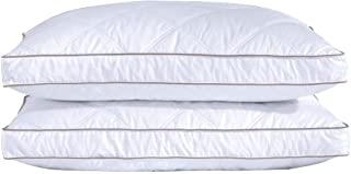 """puredown® Goose Feather Pillows with Grid Lines, Medium Support, Machine Washable, 18x28x1.5"""", 46x71x3.8cm, Pack of 2"""