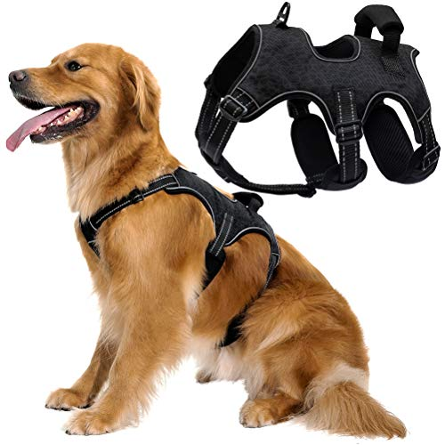 Large Dog Harness No Pull, Heavy Duty Adjustable Reflective Oxford Outdoor Dog Body Harness, Front/Back Leash Clips for Walking, Easy Control Padded Handle, Dog Vest Harness for Extra Large Dogs