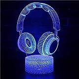 3D ilusión noche luz para niños auriculares 16 color swich con control remoto para sala de estar cama bar regalo juguetes