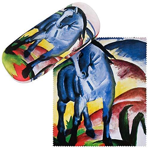 VON LILIENFELD Brillenetui Hardcase Box Stabil Kunst Damen Herren Brillenputztuch Franz Marc Blaues Pferd
