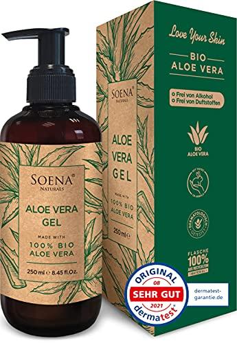 Aloe Vera Gel mit 100{30588d0ccb08d31b4f9cf07cb1d17de9e43336b2621f1017e45e77ba5b6f584f} BIO ALOE VERA | Frei von Alkohol & Parfüm | NATURKOSMETIK | Tierversuchsfrei | Feuchtigkeitspflege von SoenaNaturals | After Sun - 250ml - Made in Germany
