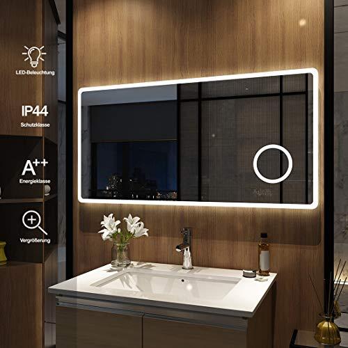 Meykoers Wandspiegel Badezimmerspiegel mit Beleuchtung 120x60cm, LED Badspiegel Spiegel mit Beleuchtung Lichtspiegel fürs Bad Kaltweiß 6400K IP44 Energieklasse A++
